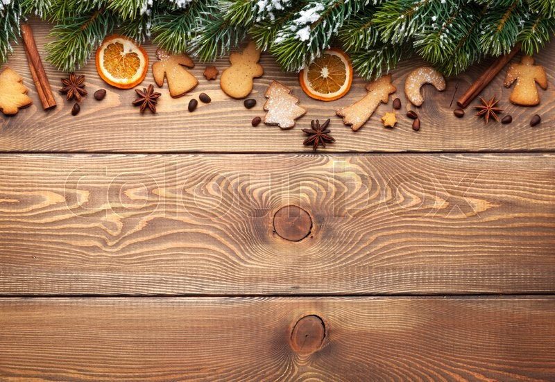 Christmas Wood Background.Christmas Wooden Background With Snow Stock Image
