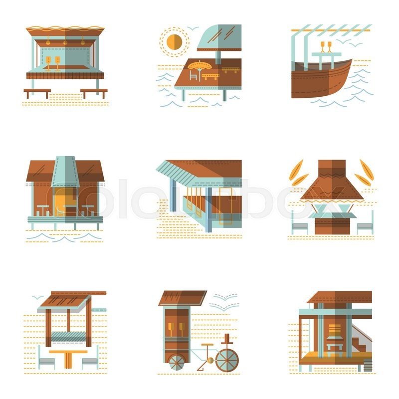 Set of samples for coastline cafe and     | Stock vector
