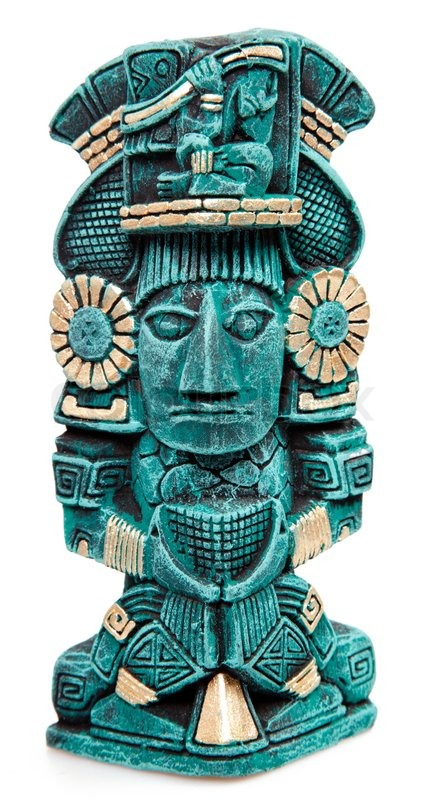 Mayan god statue from Mexico isolated   Stock Photo ...
