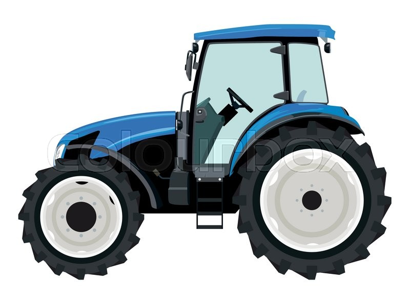 Farm Tractor Wheel Clip Art : Blue tractor a side view on white background stock