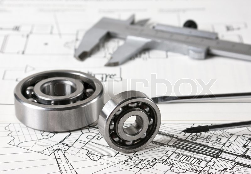 Technical drawing and callipers with bearing, stock photo