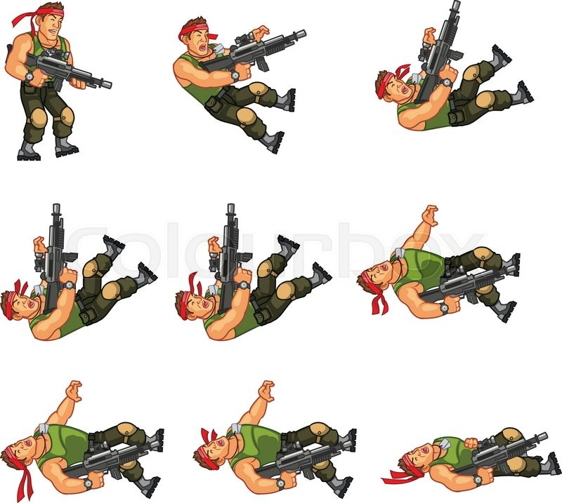 Vector Design Of Commando Game Character Animation Sprite Stock