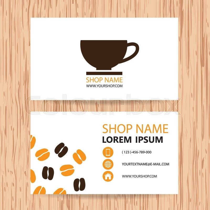 Business card vector background, Coffee shop | Stock Vector | Colourbox