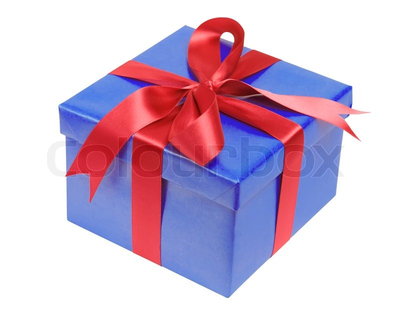 present box with red ribbon bow isolated on white stock photo