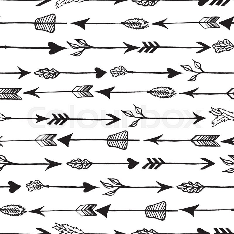 Hand Drawn Vintage Vector Arrow Background Rustic Seamless Pattern Illustration