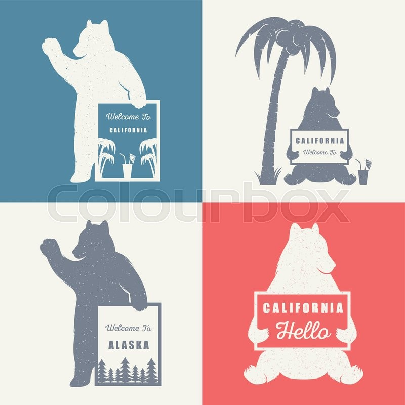 Vector Illustration Bear With Sign Welcome To California And Alaska