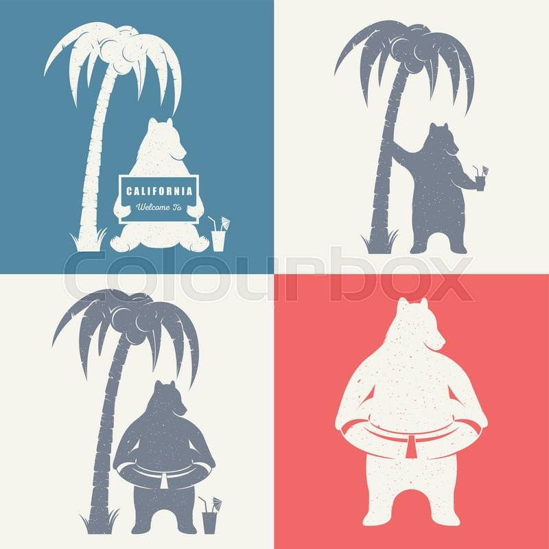 Vector Illustration Bear With Sign Welcome To California Palm And