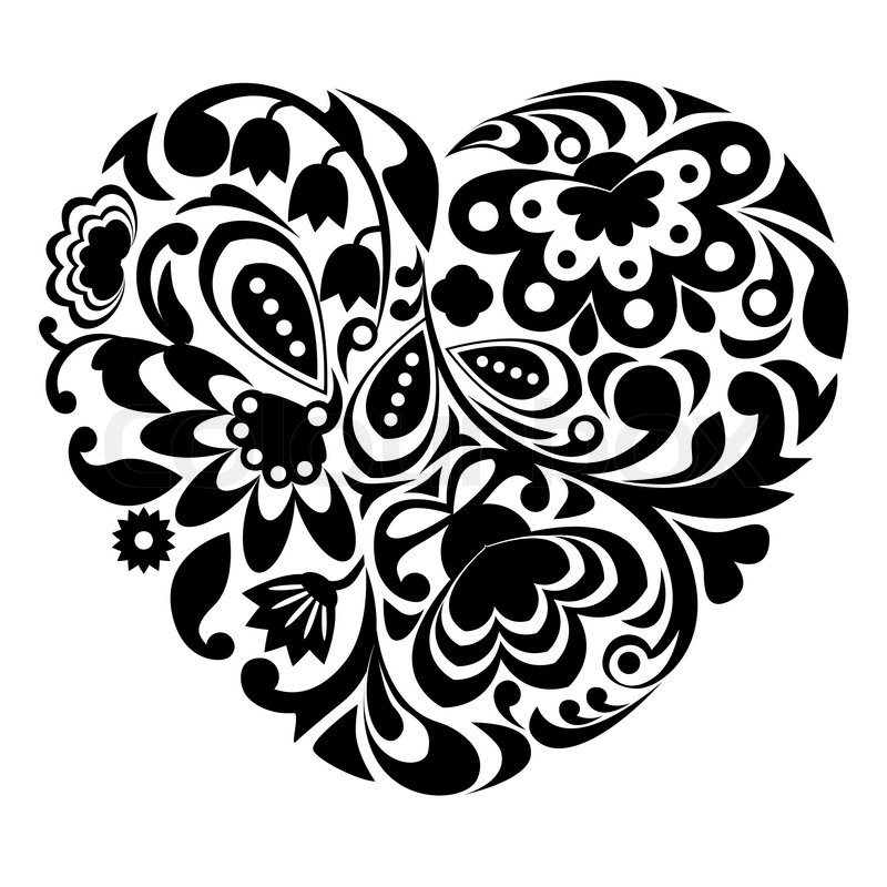 Black ornamental heart on white ... | Stock vector | Colourbox