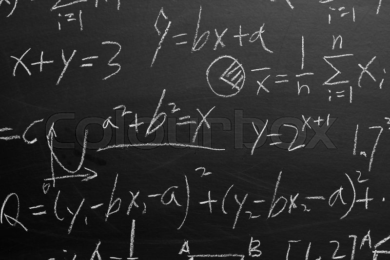 Maths Formulas Written By White Chalk On The Blackboard Background Stock Photo