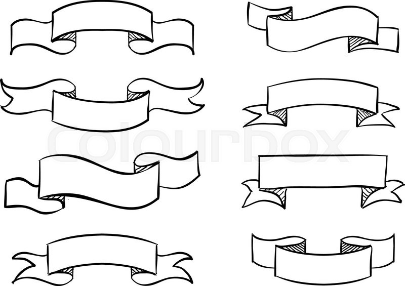 hand drawn banner scribble vector vintage scroll design stock