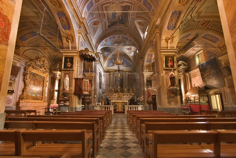 A Magnificent Interior Of Church In A Medieval Small Town