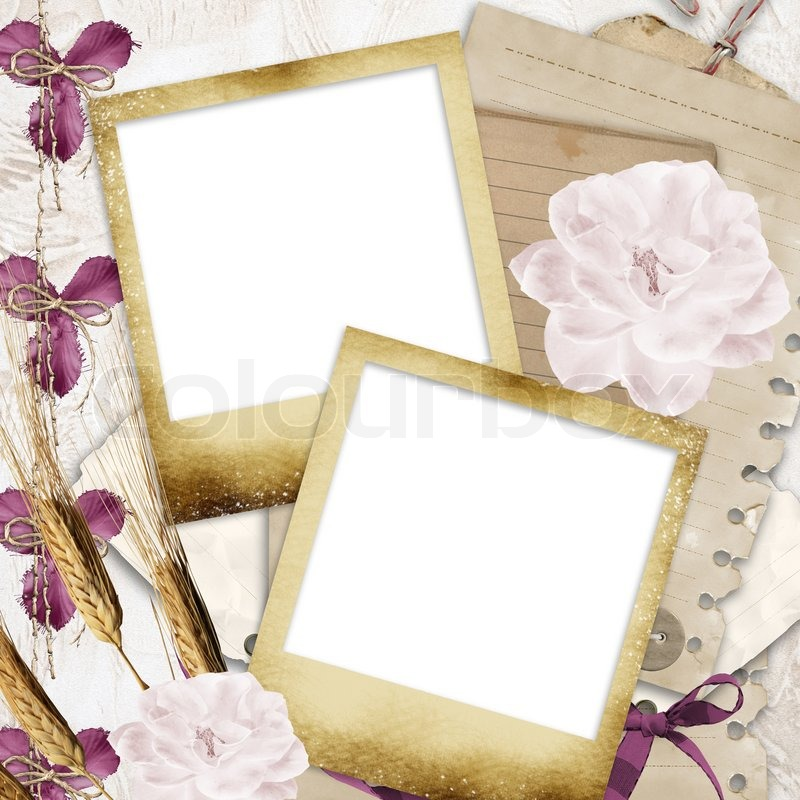 Blank photo frames on wallpaper background with old paper, flowers ...
