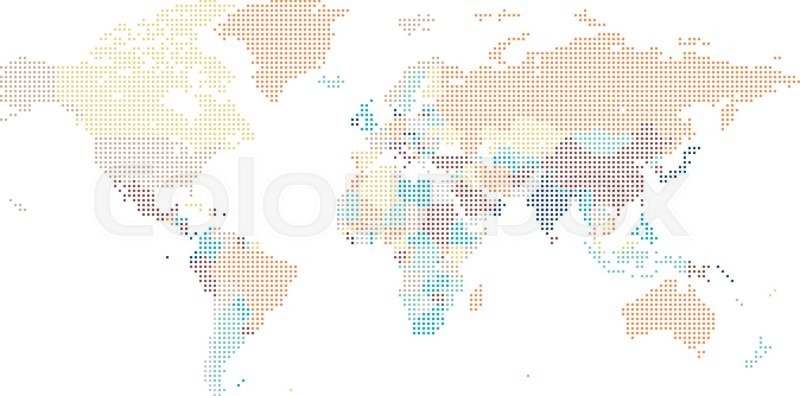 dotted world map of square dots on white background vector illustration vector