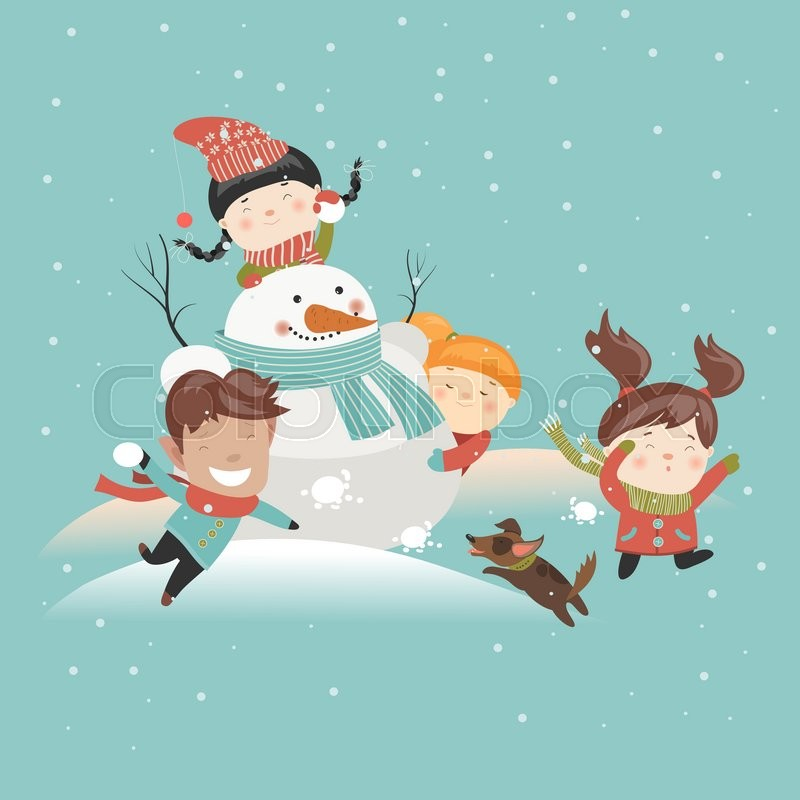 funny kids playing snowball fight  vector illustration