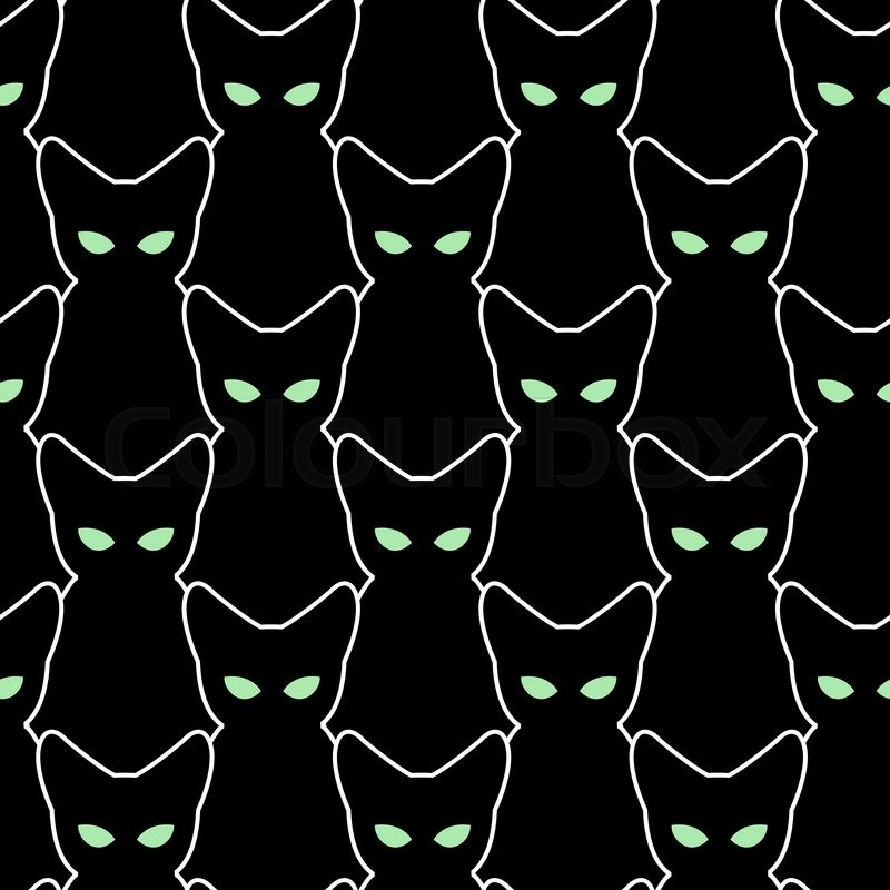 black cat seamless pattern  vector backgrounds for