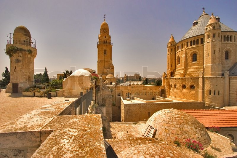 Churches And Mosques In Old Quarters Of Jerusalem Stock