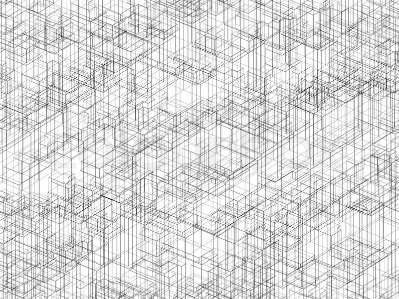 Digital 3d background texture with black wire frame lines, chaotic ...