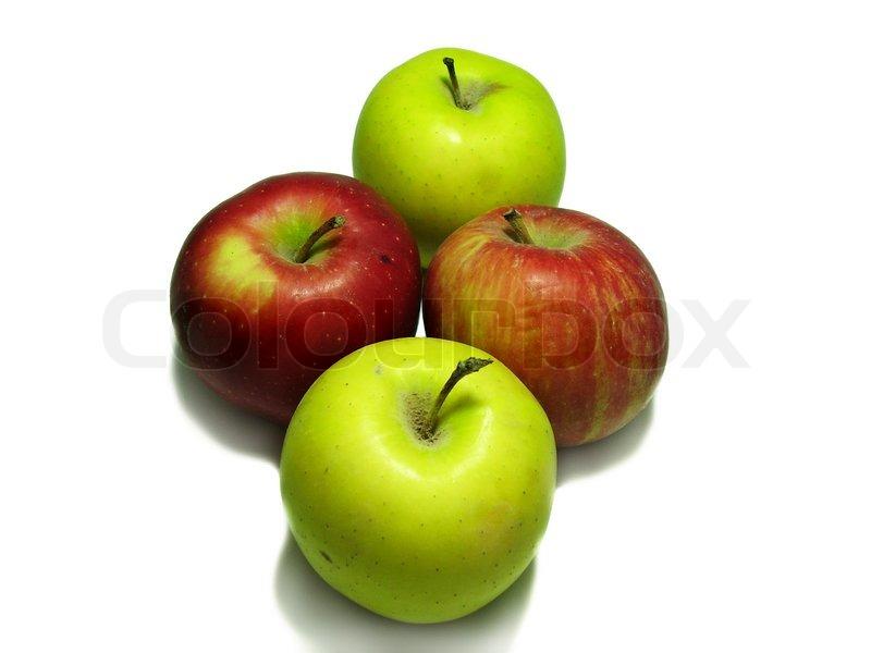 four apples isolated on white stock photo colourbox