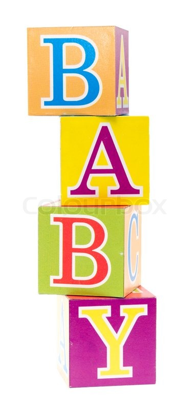 Word Baby Spelled Out In Baby Blocks Isolated On White