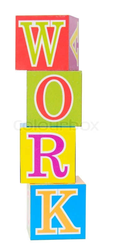 Word work spelled out in baby blocks isolated on white stock photo