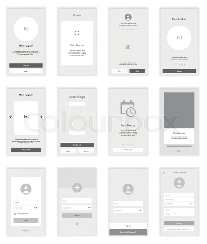 Mobile Screens wireframe User Interface Kit. Modern user interface ...