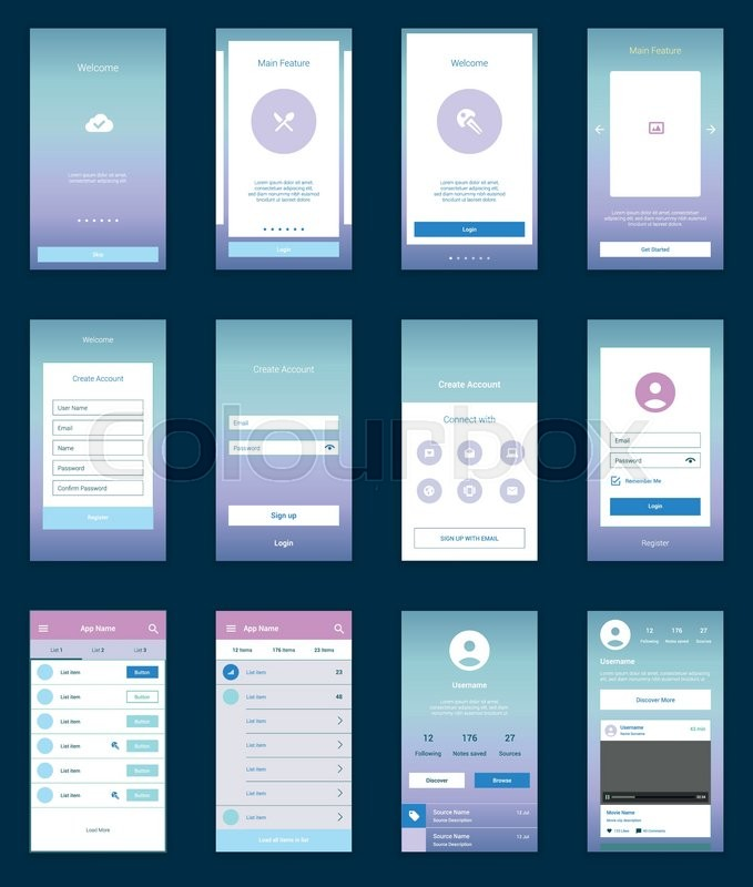 modern user interface ux ui screen template for mobile smart phone or responsive web site welcome onboarding login sign up and home page layout vector