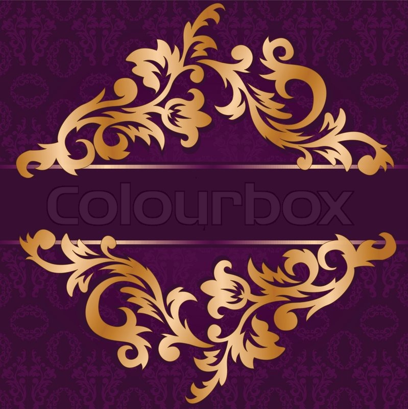 Gold Rhomb Out Of Floral Ornament On A Purple Background