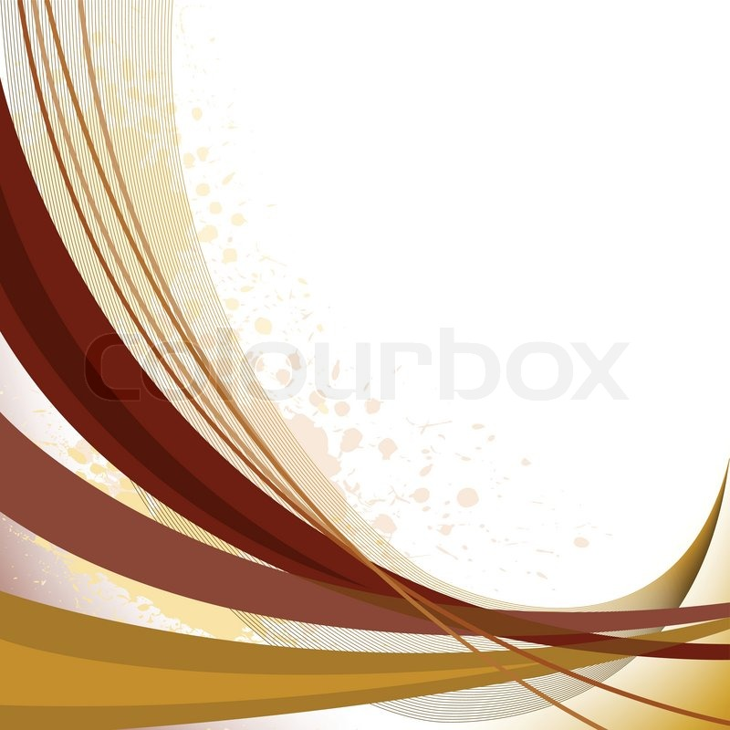 Abstract background with brown curved lines and spots of paint stock