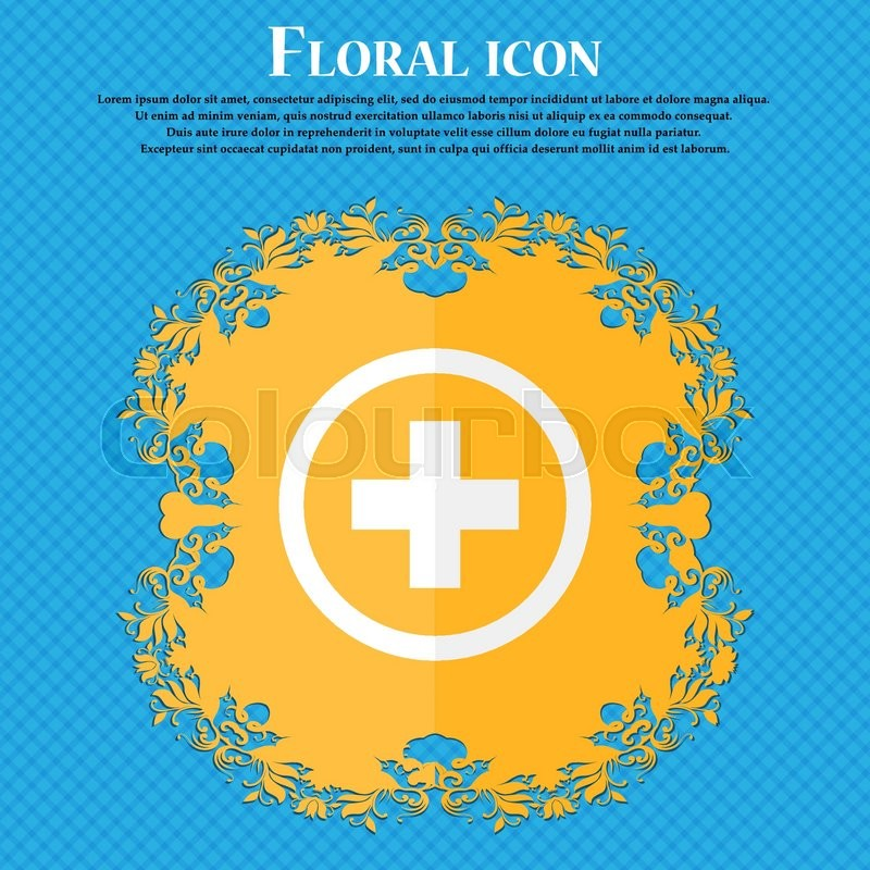 Plus Sign Icon Positive Symbol Zoom In Floral Flat Design On A