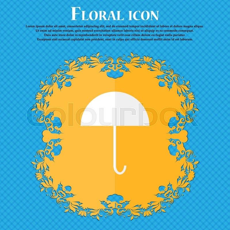 Umbrella Sign Icon Rain Protection Symbol Floral Flat Design On A
