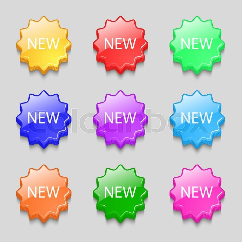 New Sign Icon Arrival Button Symbol Symbols On Nine Wavy Colourful
