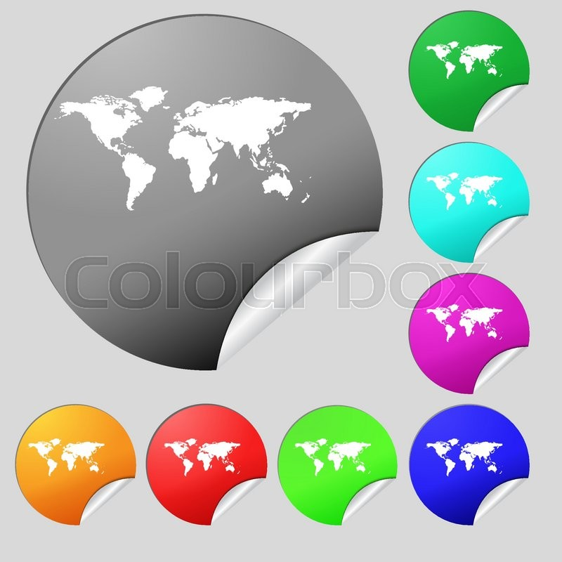 Globe sign icon world map geography symbol set of eight multi world map geography symbol set of eight multi colored round buttons stickers vector illustration stock vector colourbox gumiabroncs Images