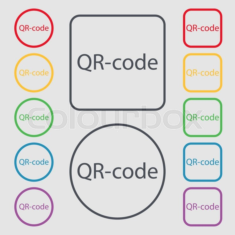 Qr Code Sign Icon Scan Code Symbol Symbols On The Round And Square