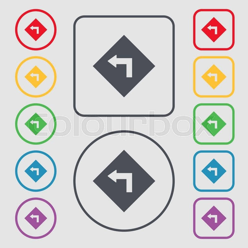 Road Sign Warning Of Dangerous Left Curve Icon Sign Symbols On The