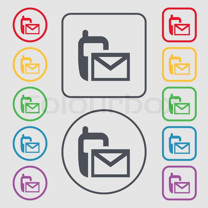 Mail Icon Envelope Symbol Message Sms Sign Symbols On The Round