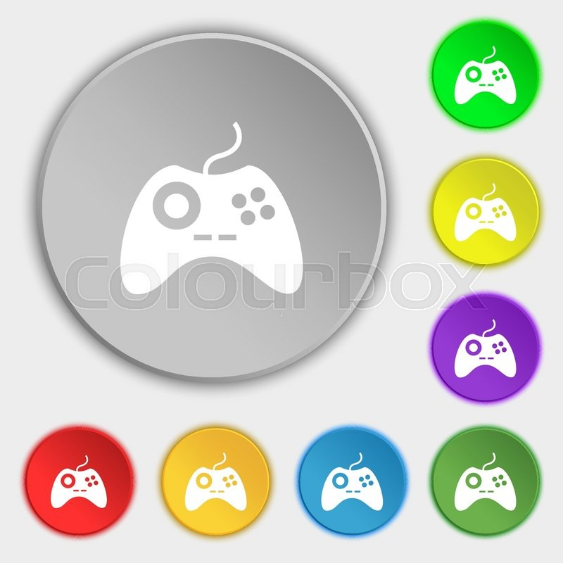 Joystick Sign Icon Video Game Symbol Symbols On Eight Flat Buttons