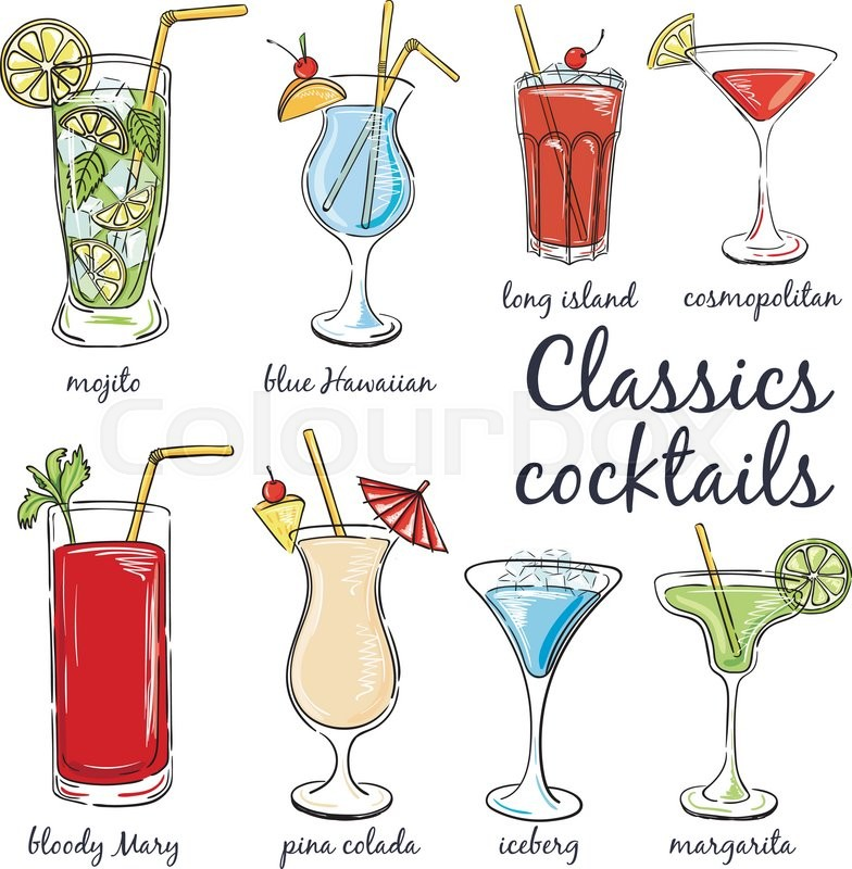 Classic Cocktails  Hand drawn     | Stock vector | Colourbox