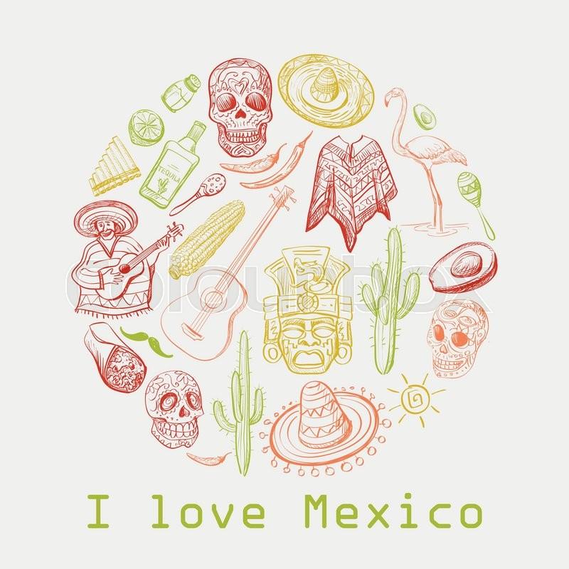 Mexican Culture Symbols Guitar Sombrero Tequila Taco Skull