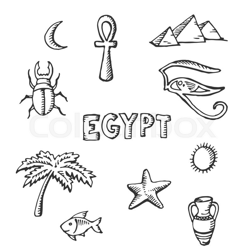 Sketch Collection Of Egyptian Symbols Palm Egypt Fish Scarabaeus