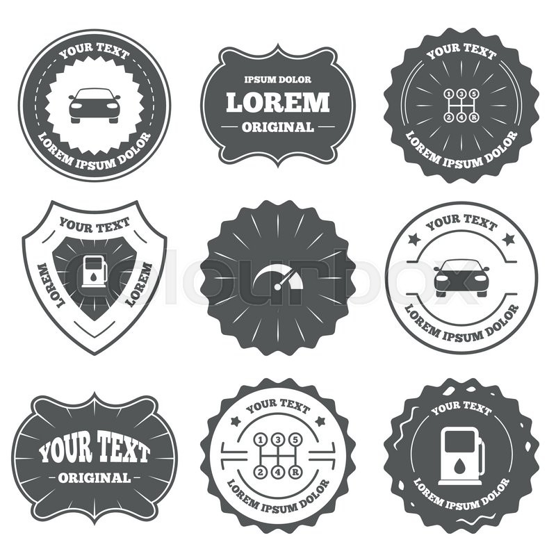 Vintage Emblems Labels Transport Icons Car Tachometer And Manual