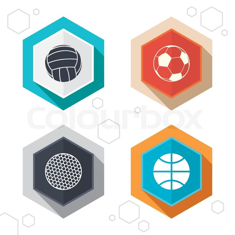 Hexagon buttons. Sport balls icons. Volleyball, Basketball, Soccer and Golf signs. Team sport games. Labels with shadow. Vector, vector