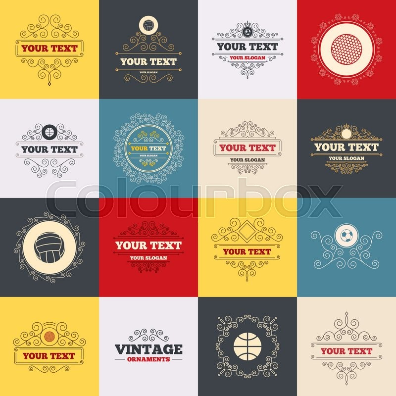 Vintage frames, labels. Sport balls icons. Volleyball, Basketball, Soccer and Golf signs. Team sport games. Scroll elements. Vector, vector