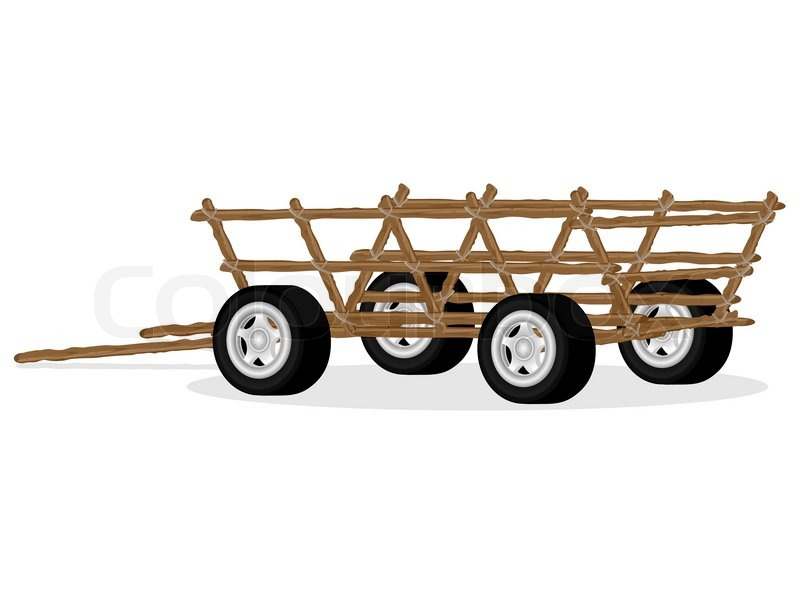 Old rural transport cart with new modern automobile wheels on pure ...