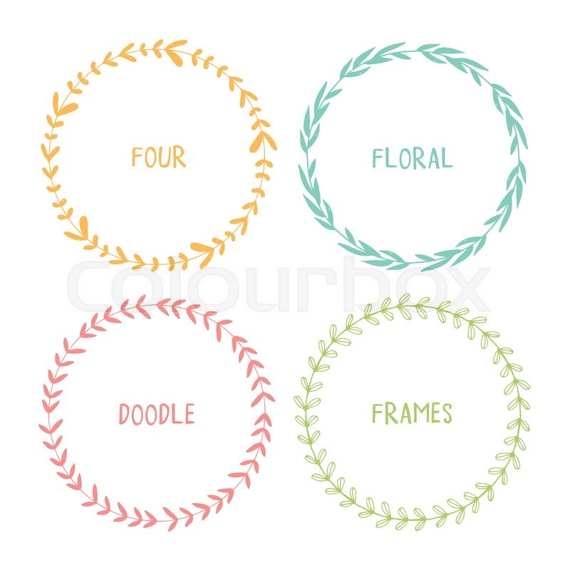 Hand drawn circle doodle floral frames. Vector simple wreath ...