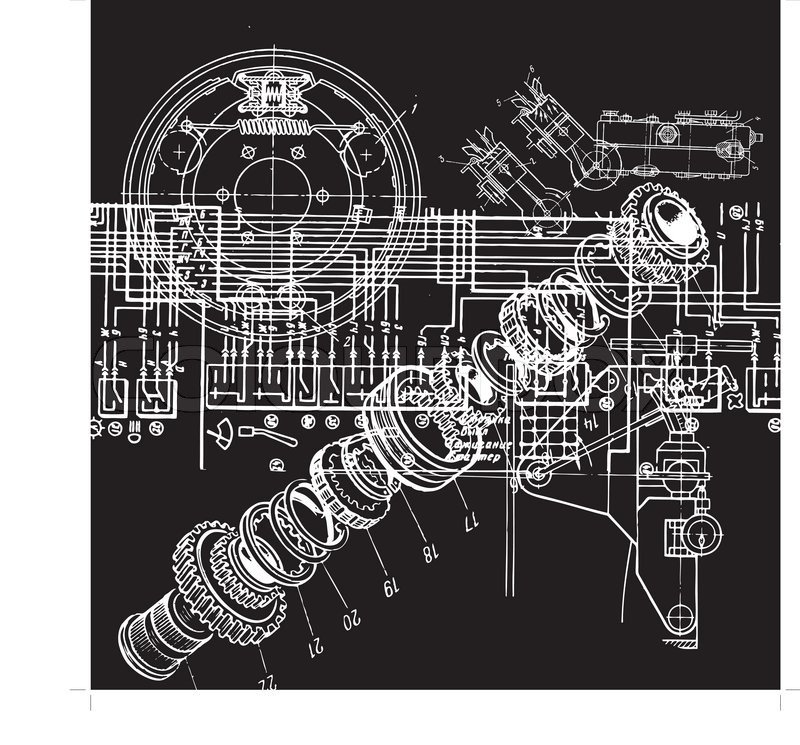 Technical drawing or blueprint on black background stock vector technical drawing or blueprint on black background stock vector colourbox malvernweather Gallery