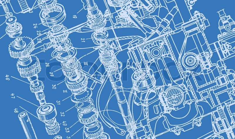 Technical drawing or blueprint on blue background stock for Where to buy blueprint paper
