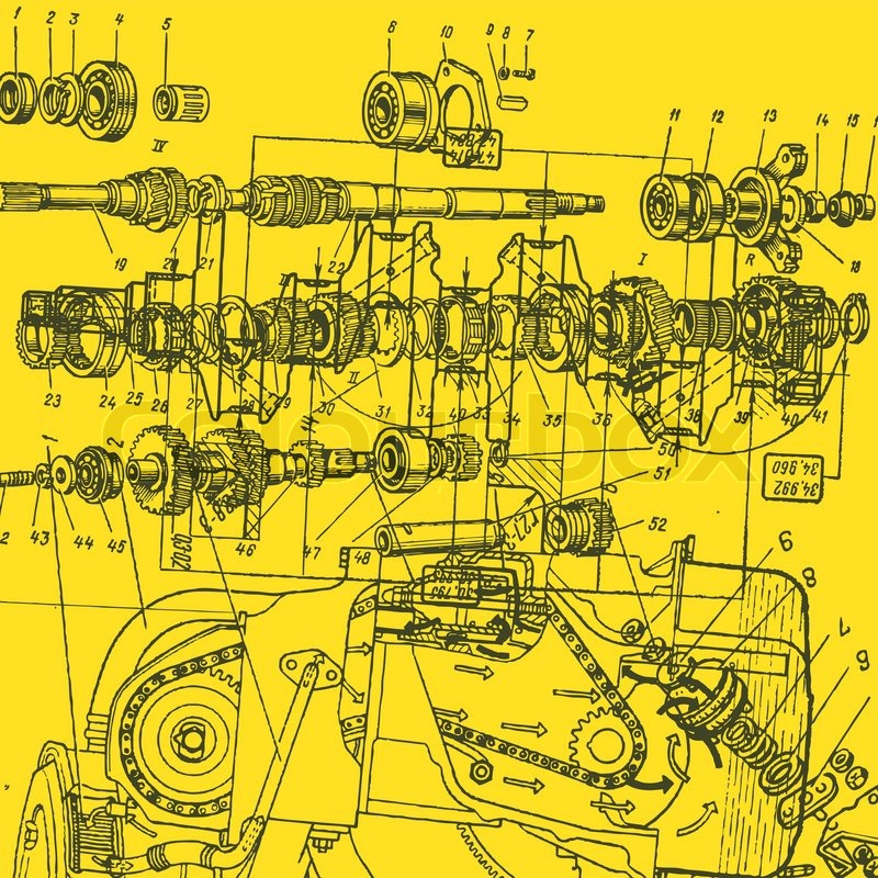 Technical drawing or blueprint on yellow background for Where to buy blueprint paper