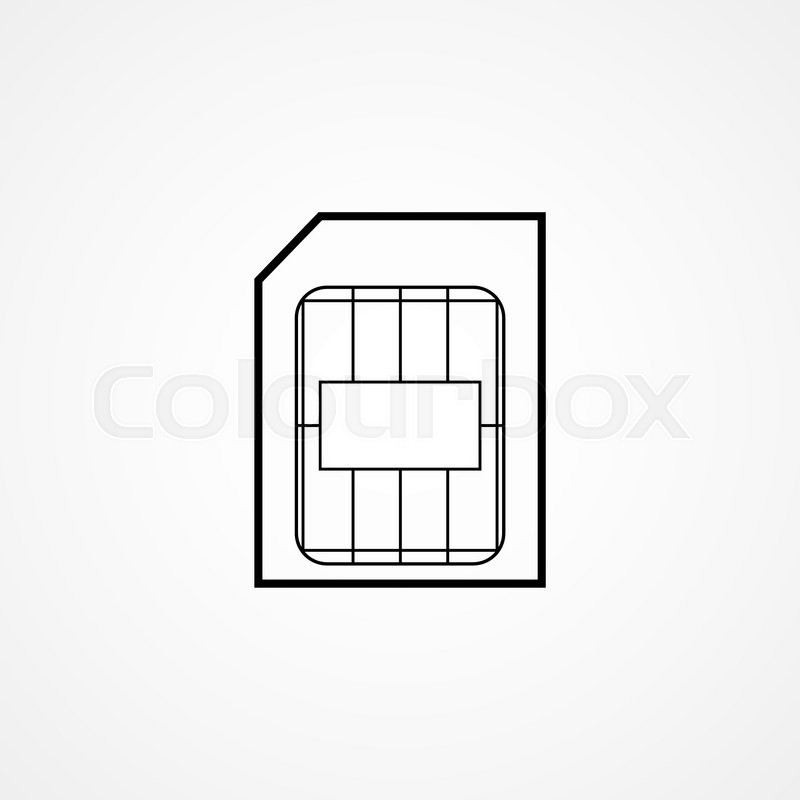 Micro Sim Card Symbol Outline Vector Illustration Stock Vector