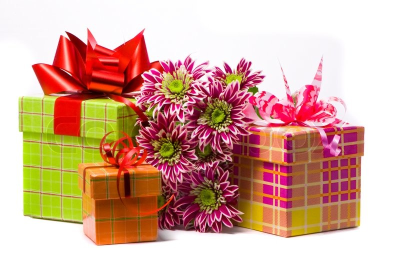 Gift boxes with beautiful flowers stock photo colourbox negle Images