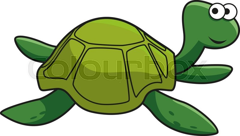 Cartoon Green Turtle Character With Stock Vector Colourbox